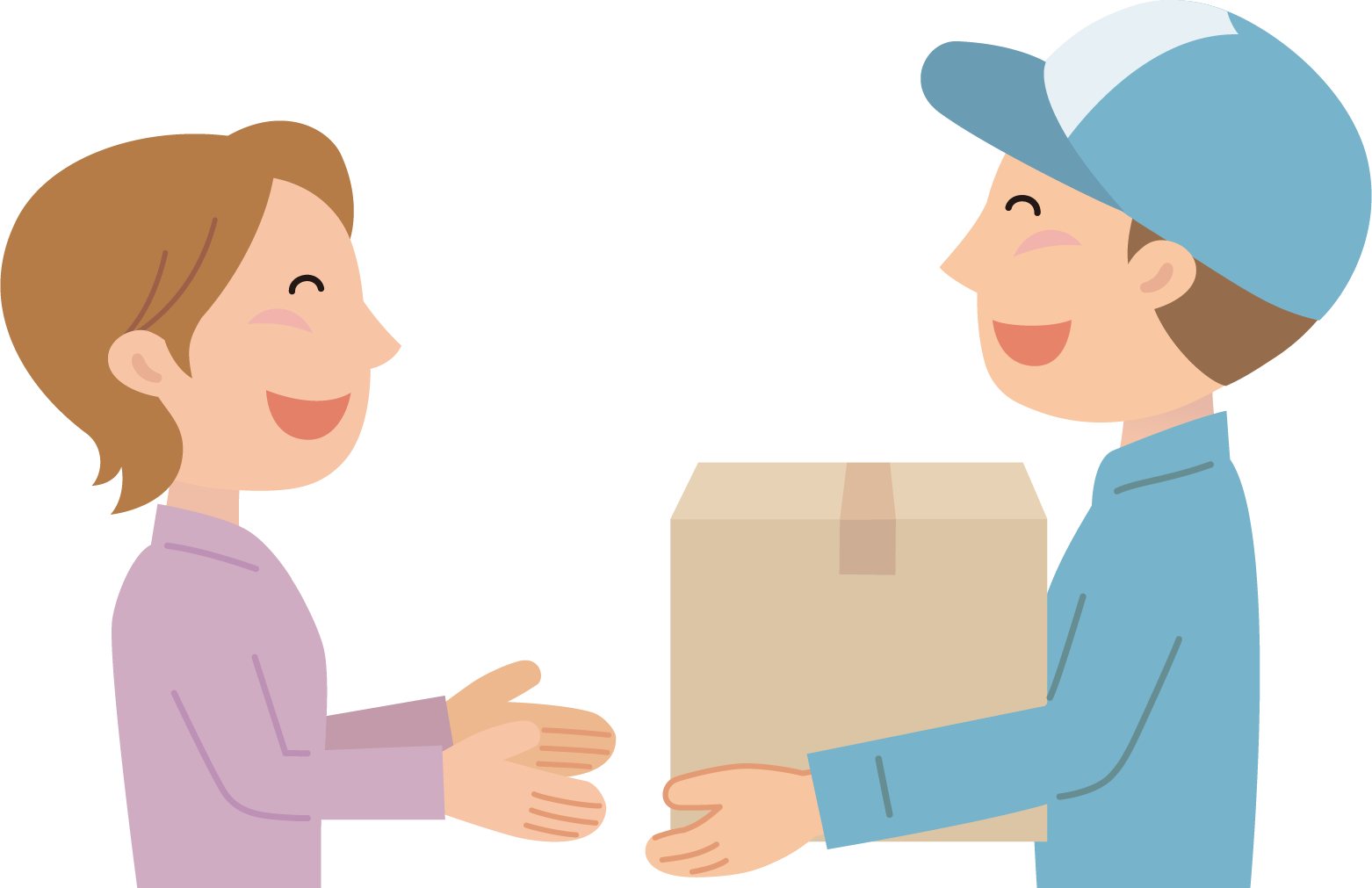 食材宅配サービスの商品を受け取る主婦と届ける配達員