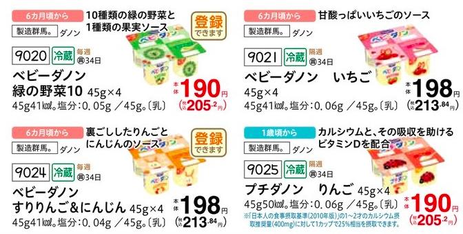 コープデリの離乳食・赤ちゃん向け商品であるベビーダノン他の価格・値段紹介