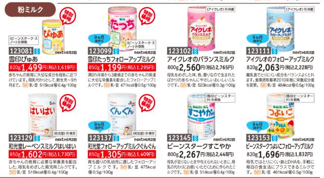 パルシステム 離乳食を比較 粉ミルクの価格・値段紹介