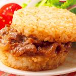 おうちコープの指定産地米と国産牛のライスバーガーは人気商品です