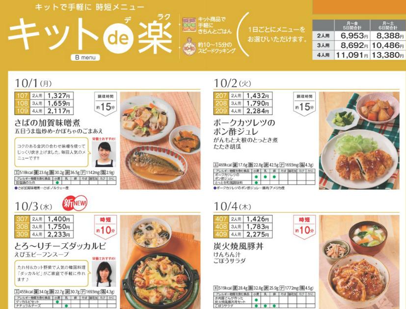ヨシケイのミールキット「キットde楽」実際のカタログ