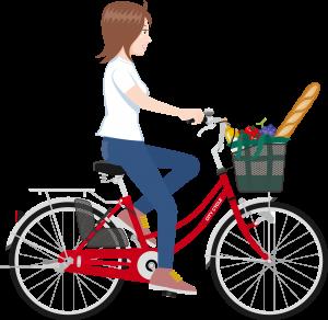 買い物が不便で自転車に乗って買い物にいく主婦