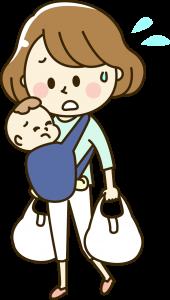 赤ちゃんを抱っこしながら買い物をする主婦